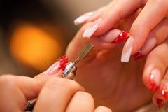 Close up macro do polisher do prego Fotografia de Stock