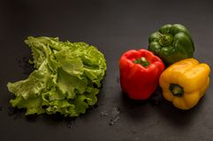 Close up, macro. Flat lay. Three multicolored peppers paprika and a big bunch of fresh green lettuce on black background royalty free stock photos