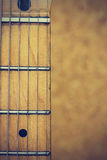 Close up macro of guitar strings vintage style royalty free stock photography
