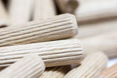 Close up macro image wooden dowels Royalty Free Stock Photography