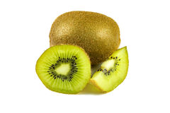 Close up macro kiwi fruit slices cut isolated on white background Royalty Free Stock Photography