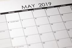 Close up macro photo of 2019 calendar monthly calendar. May month. Calendar view for background usage stock photos