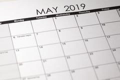 Close up macro photo of 2019 calendar monthly calendar. May month stock photos