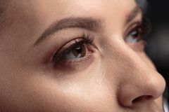 Closeup macro photo of woman`s eyes with long lashes and natural makeup. Close up macro photo of woman`s eyes with long lashes and natural makeup royalty free stock images