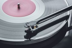 Background cartridge for vinyl records. Tonorms with a pickup head. Royalty Free Stock Photo