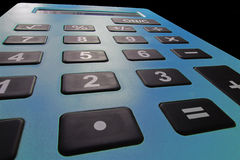 Close up macro shot of calculator. Savings calculator. Finance calculator. Economy and home concept. Credit card calculator. Credi Stock Image
