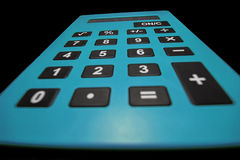 Close up macro shot of calculator. Savings calculator. Finance calculator. Economy and home concept. Credit card calculator. Credi Royalty Free Stock Images