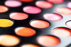 Close-up macro shot of lipgloss palette. Colourful salon cosmetics for makeup artist. Vibrant make-up product. Soft focus Royalty Free Stock Photography