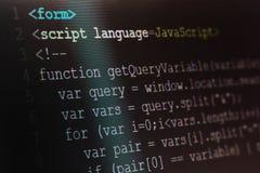 Close up macro shot selective focus of java script programming l. Anguage on computer screen stock images