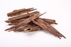 Close Up Macro Shot Of Sticks Of Agar Wood Or Agarwood. On White Background The Incense Chips Used By Burning It Or For Arabian Oud Oils Or Bakhoor royalty free stock image