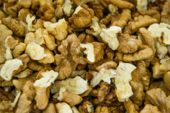 Close up macro shot of walnuts without the shell - texture Royalty Free Stock Photography