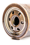 Close up macro used car oil filter Royalty Free Stock Photography