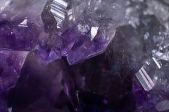 Close-up Macroamethist Crystal Background stock foto's