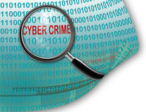 Close up of magnifying glass on cyber  crime Royalty Free Stock Photography