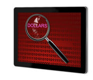 Close up of magnifying glass on dollars Royalty Free Stock Image