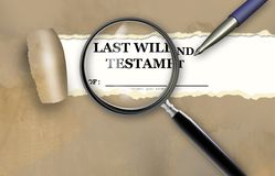 Close up of magnifying glass of Last Will and Testament Royalty Free Stock Photos