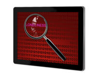 Close up of magnifying glass on loneliness. On screen of tablet  made in 3d software Royalty Free Stock Photo