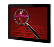 Close up of magnifying glass on madman Royalty Free Stock Image