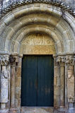 Close-up main entrance of medieval Church of St Peter Stock Photos