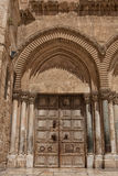 Close up of main entrance to the Church of the Holy Sepulchre Stock Photo