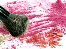 Close up make up blush on crushed powder. Royalty Free Stock Photography