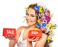 Close up make up with flower. Royalty Free Stock Image