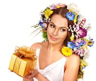 Close up make up with flower. Royalty Free Stock Photography