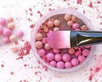 Close up make up powder ball in box and blush make up. Close up make up powder ball in box and blush make up Royalty Free Stock Photos
