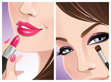 Close-up makeup. Two close-up pictures of woman's face and cosmetics