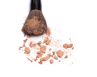 Close-up of makeup brush with bronzer Stock Photography