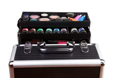 Close-up of makeup case containments Stock Images