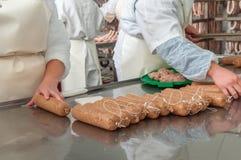Close-up making sausages automatic process Stock Photos
