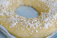 Close Up Of making of sweet bread ringed dessert On oven plate Royalty Free Stock Images