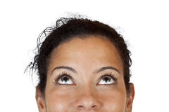 Close-up Makro Of A Happy Woman Looking Up Royalty Free Stock Image