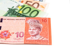 Close up of Malaysia Ringgit currency note against EURO Stock Photography