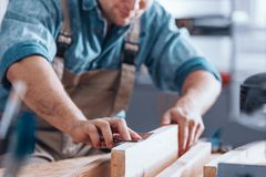 Close-up of male carpenter Stock Images