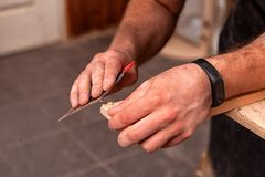 Carpenter work in workshop royalty free stock image