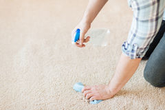 Close up of male cleaning stain on carpet Royalty Free Stock Photos