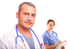 Close up of male Doctor with a female nurse Royalty Free Stock Photos