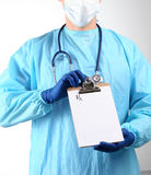Close up of male doctor hold prescription paper Stock Photography