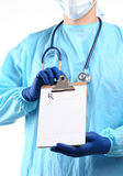 Close up of male doctor writing prescription paper Stock Images