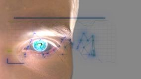 Close up of male eye with iris scan. Future technology, identity recognition and vision concept. slow motion. 3840x2160 royalty free illustration