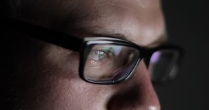 Close-up of male eyes with glasses. stock video footage