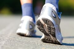 Running shoes on runner Royalty Free Stock Photo