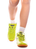 Close up of male feet with sneakers.. On white Royalty Free Stock Photography