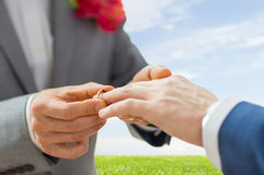 Close up of male gay couple hands and wedding ring Royalty Free Stock Photos