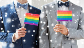 Close up of male gay couple holding rainbow flags. People, homosexuality, same-sex marriage and love concept - close up of happy male gay couple in suits and bow Royalty Free Stock Images