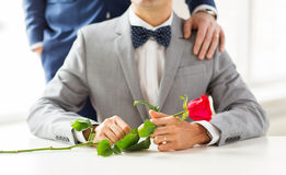 Close up of male gay couple with wedding rings on Royalty Free Stock Photo