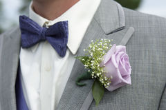 Close-up of male groomsman attire with pink rose corsage Royalty Free Stock Photo