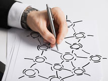 Close up of male hand with pen drawing graph Royalty Free Stock Image